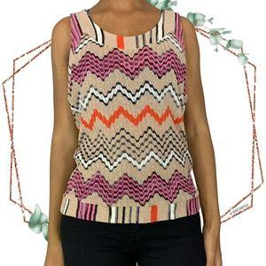 Missoni tan Chevron sleeveless knit tank size 4